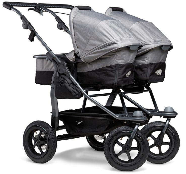 tfk Zwillings-Kombikinderwagen duo, 36 kg, Zwillingskinderwagen; Kinderwagen für Zwillinge; Zwillingswagen grau Kinder Geschwisterwagen Buggies