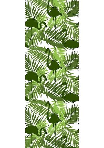QUEENCE Vinyltapete »Tropische Blätter - Flamingo - Grün«, 90 x 250 cm, selbstklebend kaufen