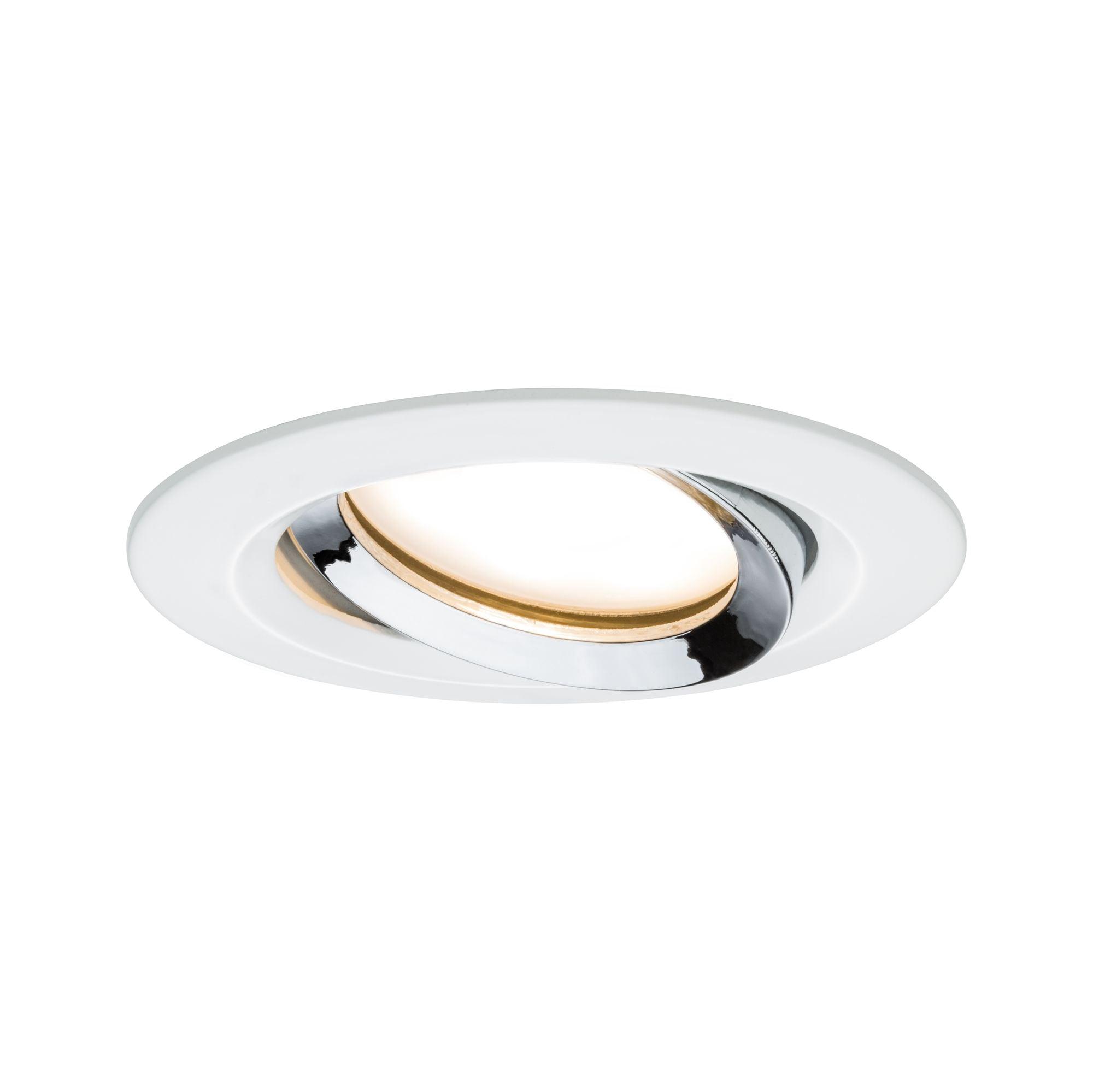 Paulmann LED Einbaustrahler dimmbar schwenkbar rund Weiß matt Chrom 1x6,8W Nova Plus, 1 St., Warmweiß