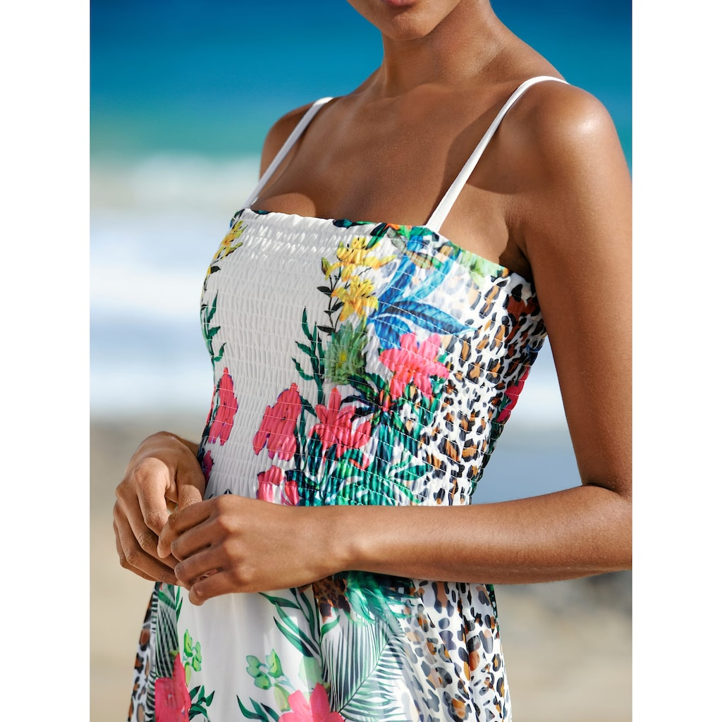 Alba Moda Strandkleid mit gesmoktem Oberteil