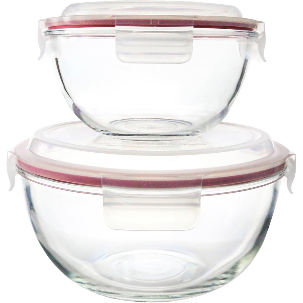 Glasslock Aufbewahrungsschüssel, (Set, 2 tlg.), inkl. Kunststoffdeckel