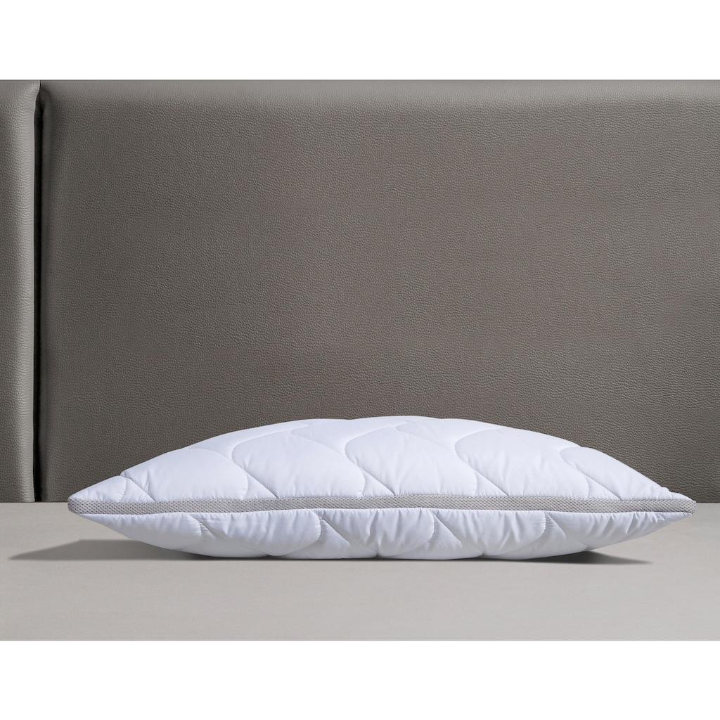 fan Schlafkomfort Exklusiv Microfaserkissen »Climacontrol® II m. Baumwollbezug«, Bezug: 100% Baumwolle, (1 St.), optimierte Klimafunktion durch Lüftungsband