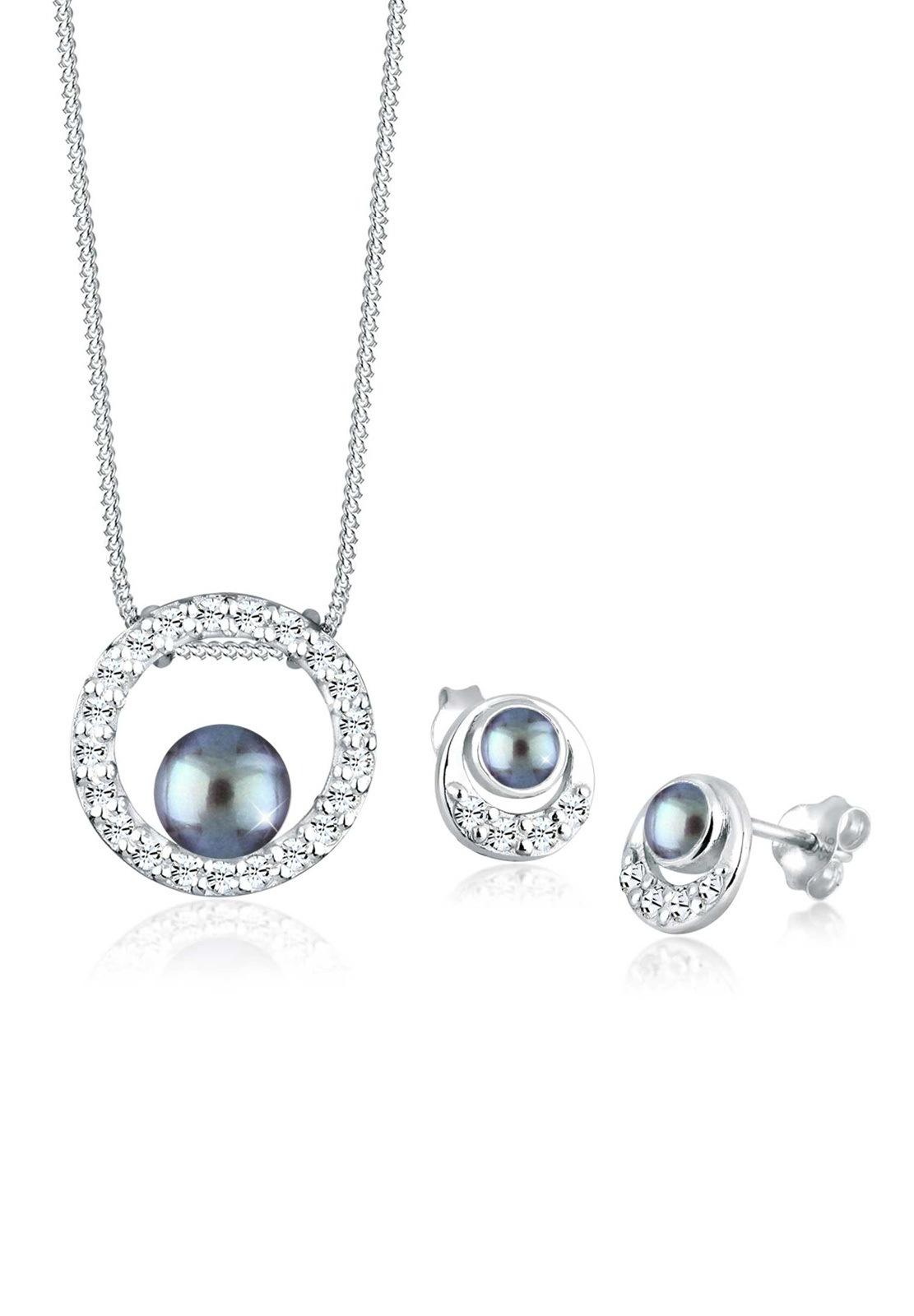 PERLU Schmuckset Perle Swarovski Kristalle 925 Silber | Schmuck > Schmucksets | Grau | Perlu