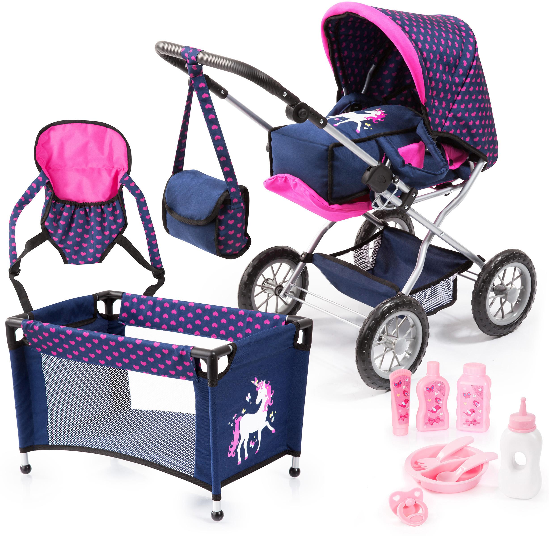 Bayer Kombi-Puppenwagen Grande, Blau/Pink, mit Reisebett, Flasche, Tragegurt, Schnuller, Puppengeschirr, Fläschchen und Pflegemittel blau Kinder Puppenzubehör Puppen