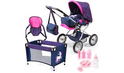 """Bayer Kombi - Puppenwagen """"Grande, Blau/Pink"""" (Set, 7 - tlg.) kaufen"""