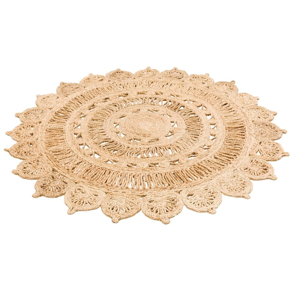 My HOME Teppich »Amar«, rund, 7 mm Höhe, Naturprodukt aus Jute, Wohnzimmer