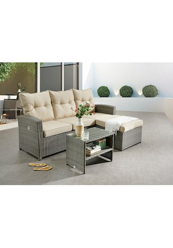 DESTINY Balkonset »Durban«, 2 - tlg., Sitzbank, Tisch 60x40 cm, Alu/Polyrattan kaufen