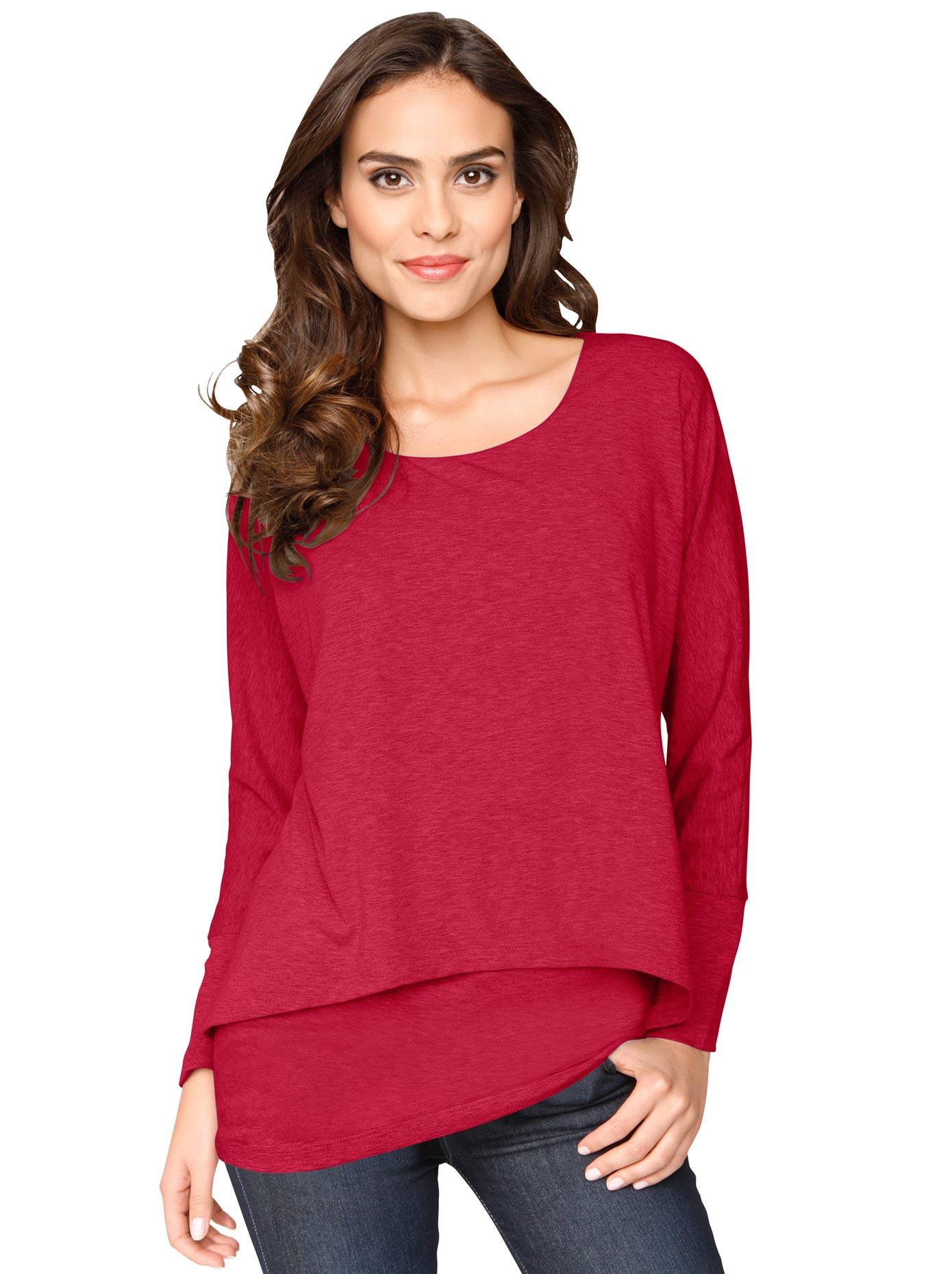 Ambria Longshirt im Lagen-Look | Bekleidung > Shirts > Longshirts | Rot | Ambria