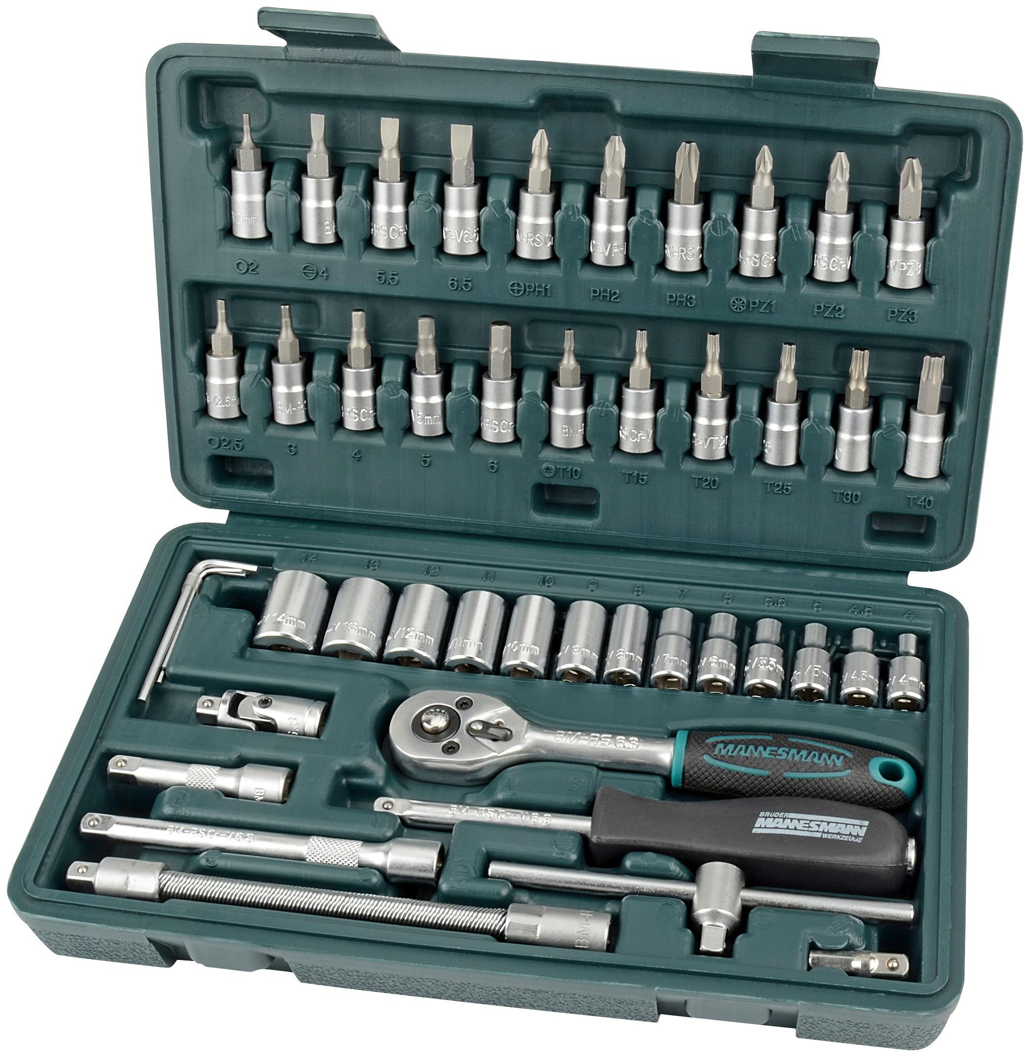 Brüder Mannesmann Werkzeuge Werkzeugset, (Set, 46 St.) grün Werkzeugkoffer Werkzeug Maschinen Werkzeugset