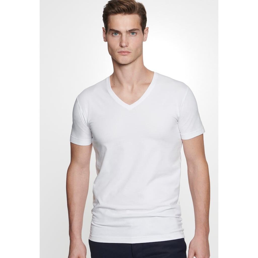 seidensticker T-Shirt »Schwarze Rose«, Kurzarm V-Neck Uni