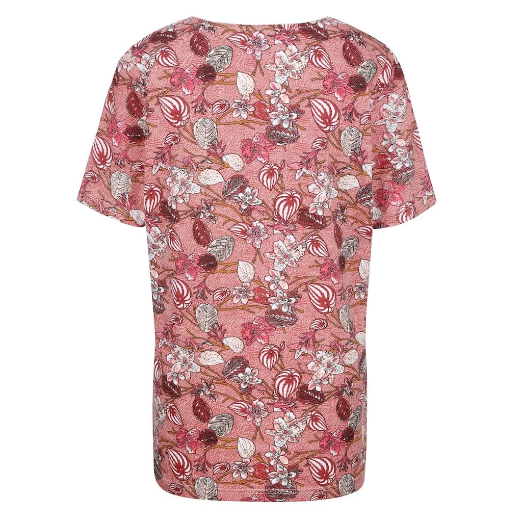 MIAMODA Kurzarmshirt, mit Effektgarn am Ausschnitt