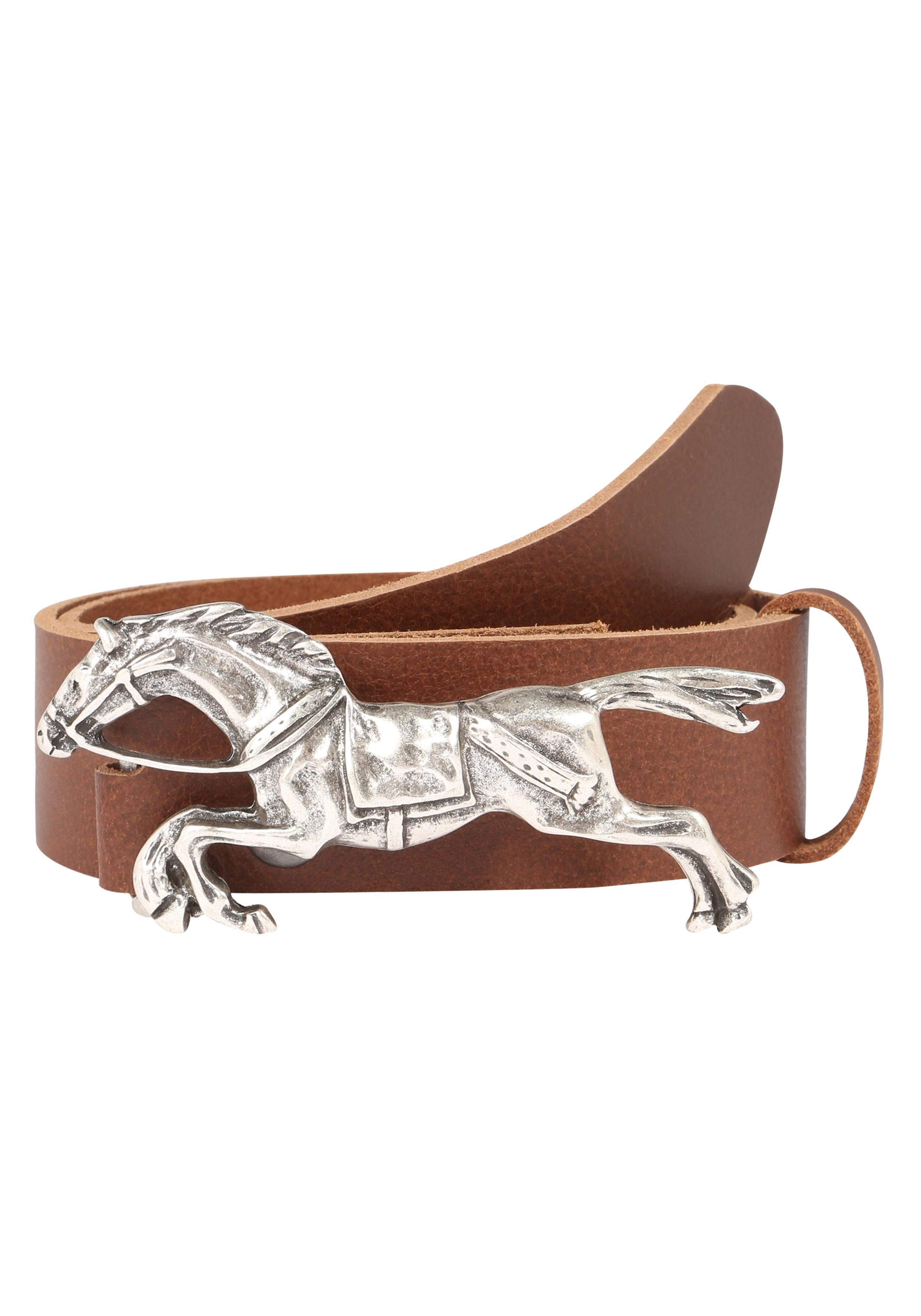 RETTUNGSRING by showroom 019° Ledergürtel, mit schöner Pferdemotivschnalle braun Damen Ledergürtel Gürtel Accessoires 4260643964756