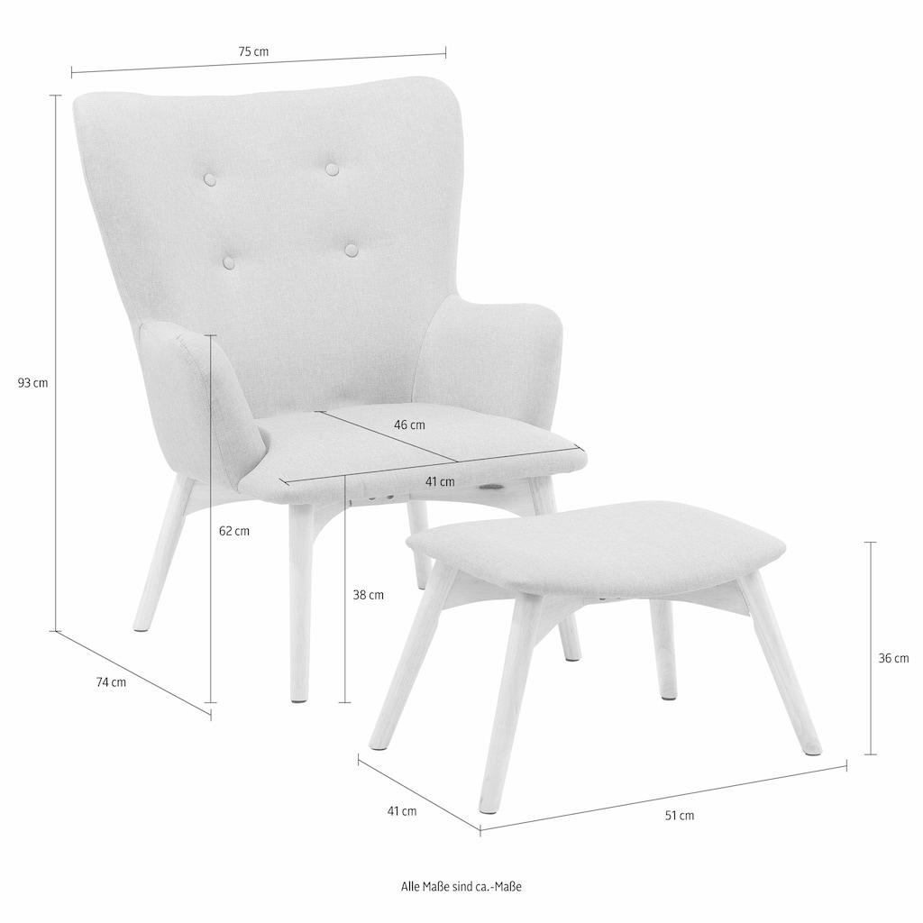 Home affaire Sessel »New York«, mit Hocker, Breite 75 cm, unifarben