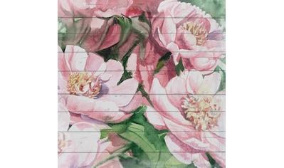 queence Holzbild »Rosa Blüten«, 40x40 cm kaufen