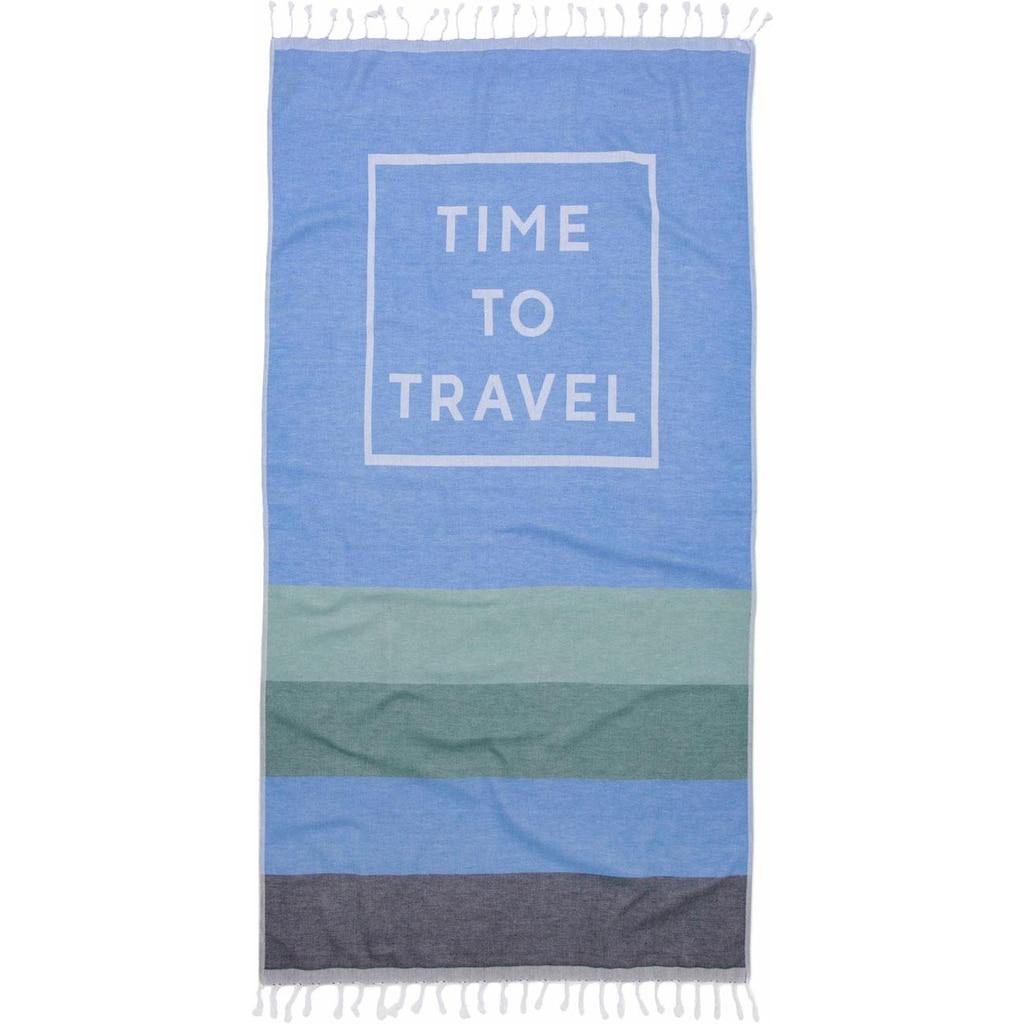 Seahorse Hamamtuch »Time to travel«, (1 St.), mit Schriftzug