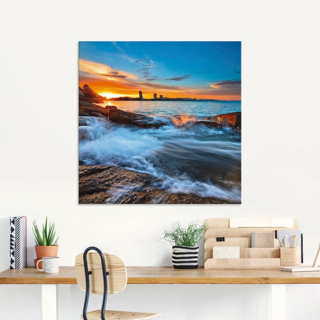 Artland Glasbild »Sonnenuntergangszeit am Hua-Hin Strand«, Gewässer, (1 St.)