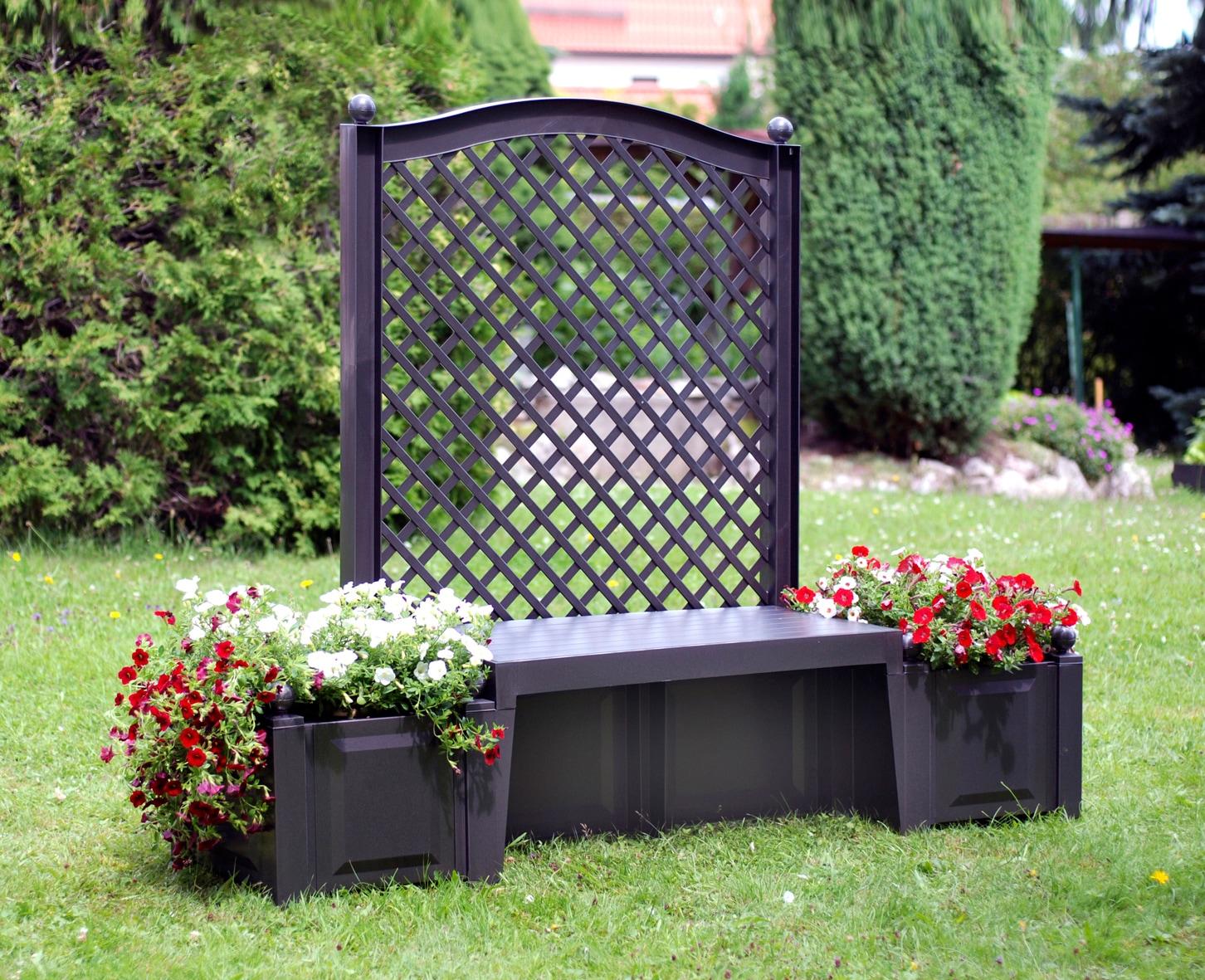 KHW Gartenbank Kopenhagen Kunststoff 174x49x139 cm anthrazit