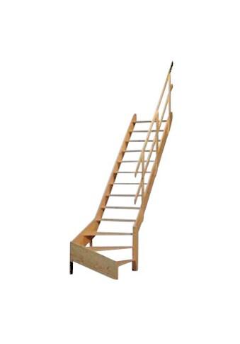 STARWOOD Raumspartreppe »Korfu«, offene Stufen, 1/4 rechts gewendelt, Holzgeländer rechts kaufen