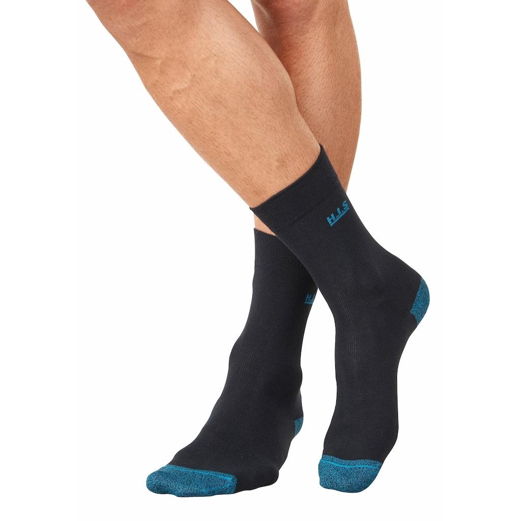 H.I.S Socken, (7 Paar), mit farbiger Spitze und Ferse