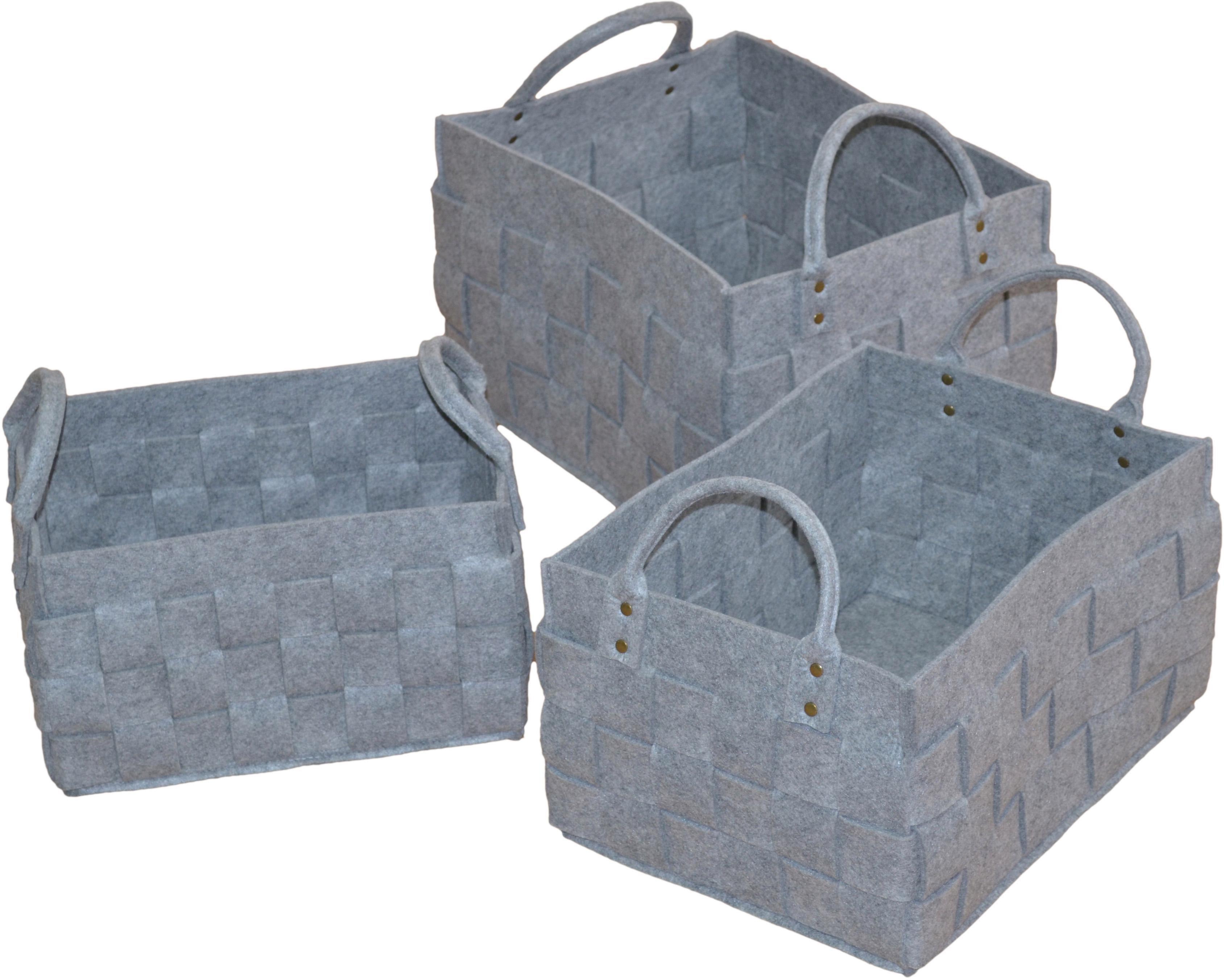 Aufbewahrungskorb, (Set, 3 St.), in Filzoptik grau Körbe Aufbewahrung Ordnung Wohnaccessoires Aufbewahrungskorb