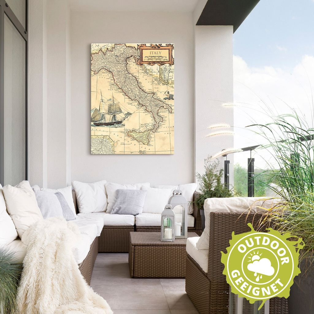 Artland Wandbild »Italienkarte«, Landkarten, (1 St.), in vielen Größen & Produktarten - Alubild / Outdoorbild für den Außenbereich, Leinwandbild, Poster, Wandaufkleber / Wandtattoo auch für Badezimmer geeignet