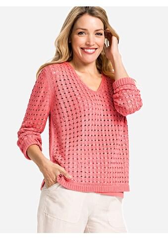 Olsen V-Ausschnitt-Pullover, mit Lochmuster kaufen