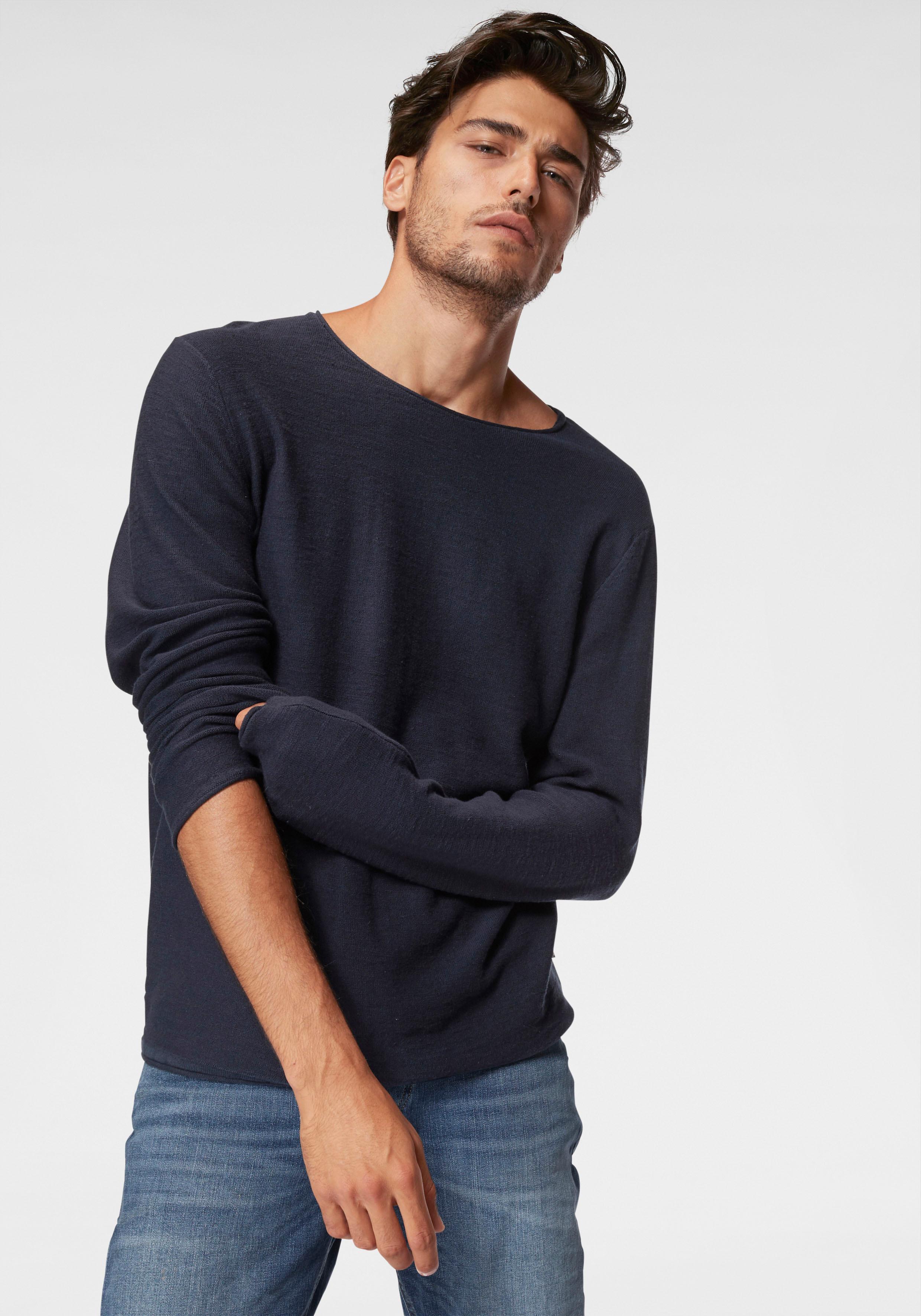 Jack & Jones Rundhalspullover SLUB KNIT CREW NECK   Bekleidung > Pullover > Rundhalspullover   Blau   jack & jones