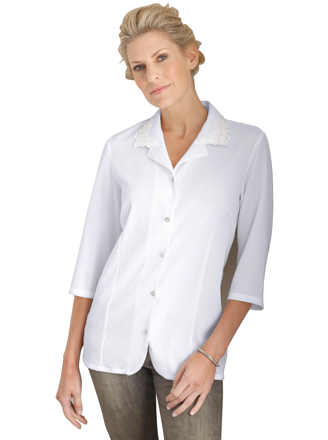 Classic Basics Bluse in bügelleichter Crinkle-Qualität