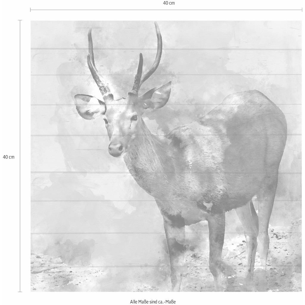 Home affaire Holzbild »Reh«, 40/40 cm