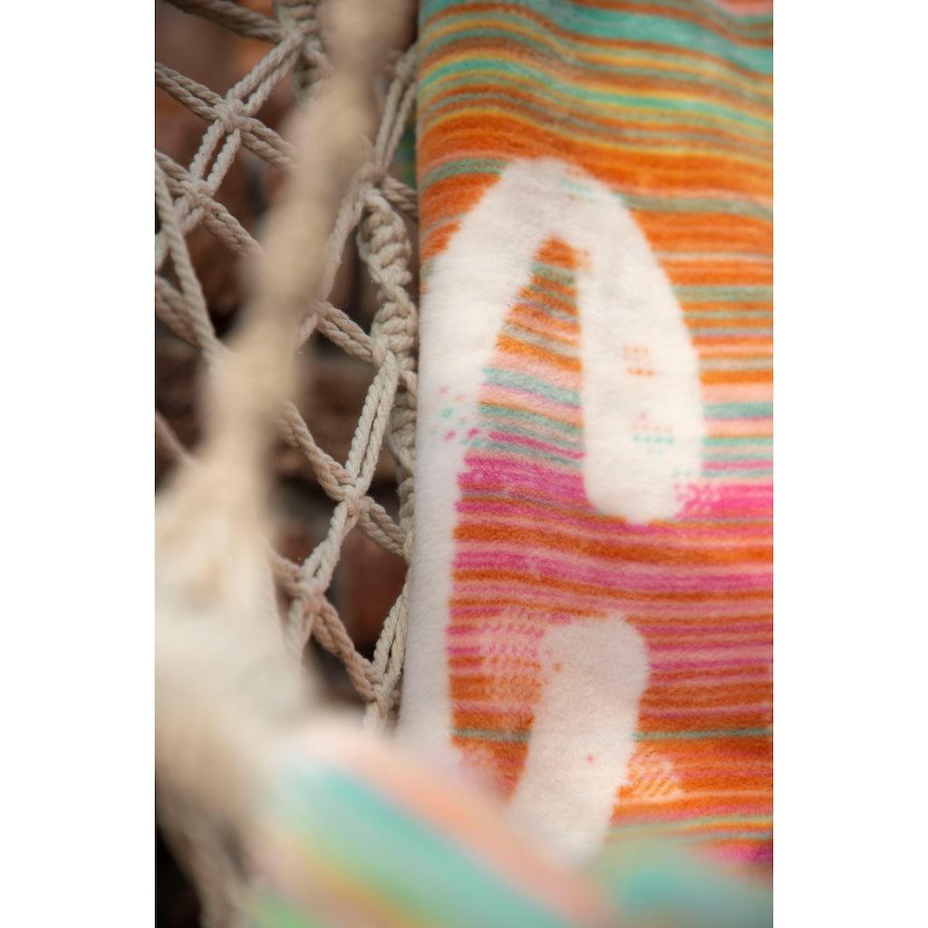 IBENA Wohndecke »Jacquard Drancy«, mit zarten Streifen und Spruchdesign