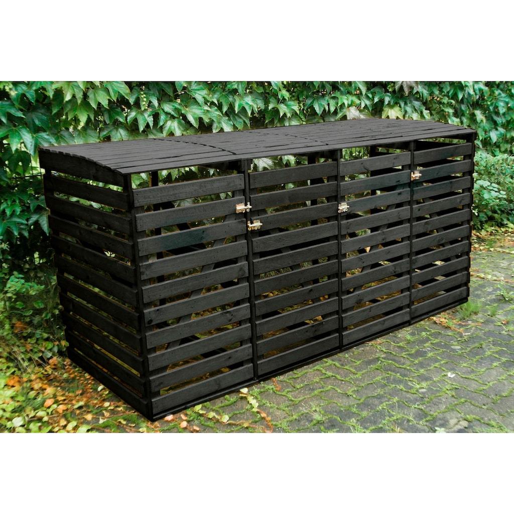 promadino Mülltonnenbox, für 4x240 l aus Holz, BxTxH: 268x92x122 cm