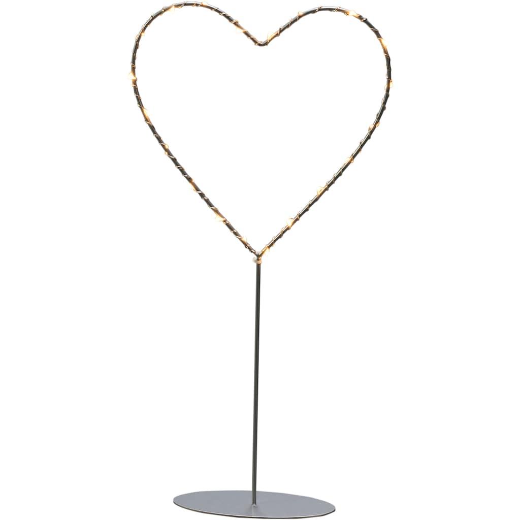 KONSTSMIDE LED Dekolicht, Extra-Warmweiß, LED Metallherz mit Metall-Fuß für den Innenbereich, 20 bernsteinfarbene Dioden, mit silberfarbenem Draht umwickelt, 6h Timerfunktion, batteriebetrieben, transparentes Kabel