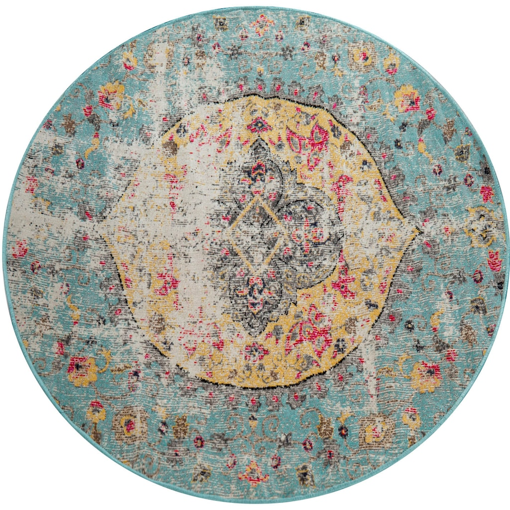 Paco Home Teppich »Artigo 401«, rund, 4 mm Höhe, Kurzflor, Vintage Design, In- und Outdoor geeignet, Wohnzimmer