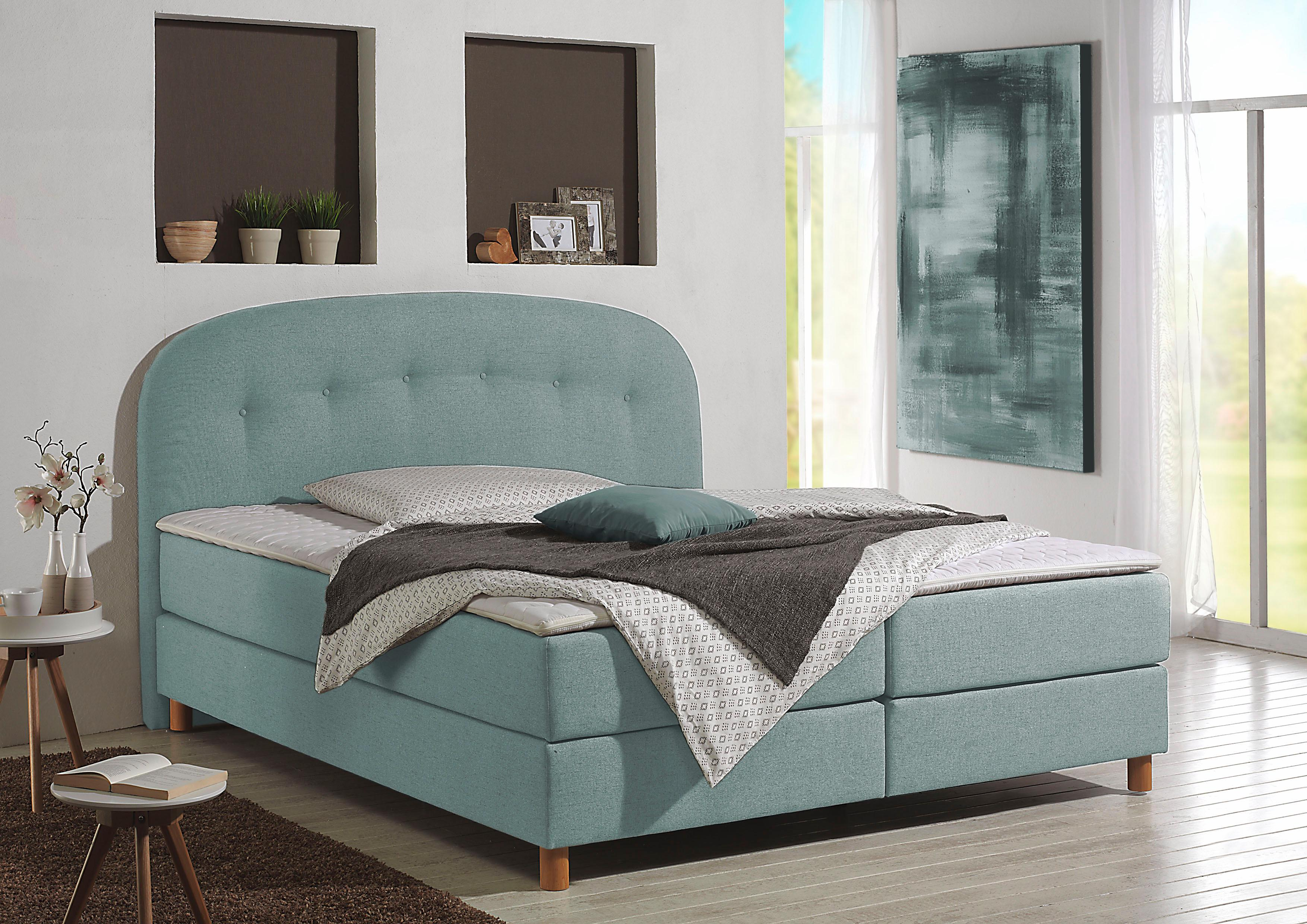 Home affaire Boxspringbett Dylan | Schlafzimmer > Betten > Boxspringbetten | Blau | Home Affaire