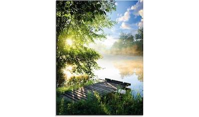 Artland Glasbild »Angelsteg am Morgen«, Gewässer, (1 St.) kaufen