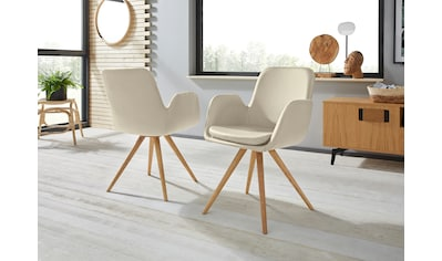 Armlehnstuhl »Malmö«, (2 Stück), Bezug in Strukturstoff oder Leder das Gestell aus Eiche Massivholz geölt kaufen