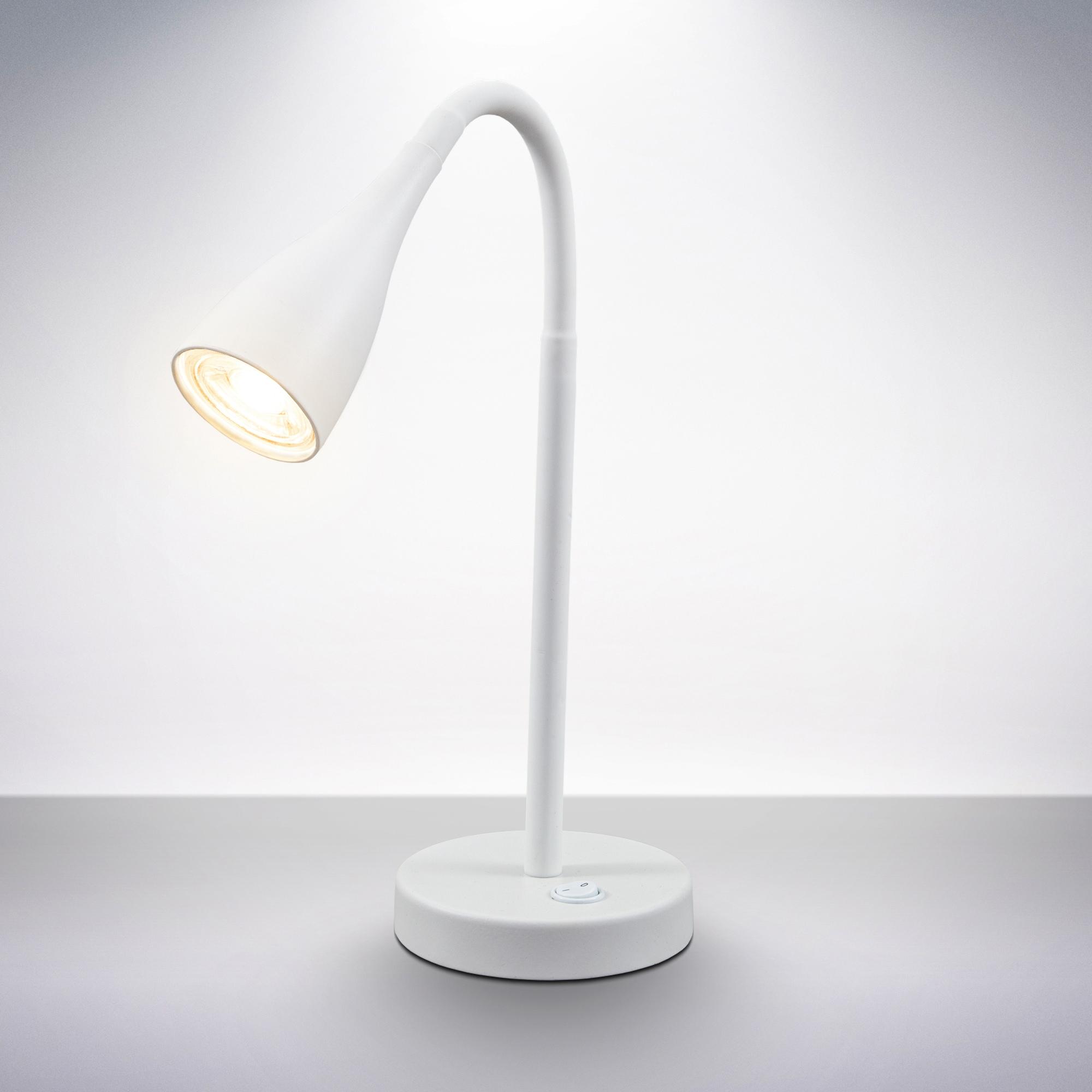 B.K.Licht LED Tischleuchte, GU10, Warmweiß, LED Schreibtischlampe flexibel verstellbar Kippschalter 5W 400 Lumen GU10 3.000K weiß