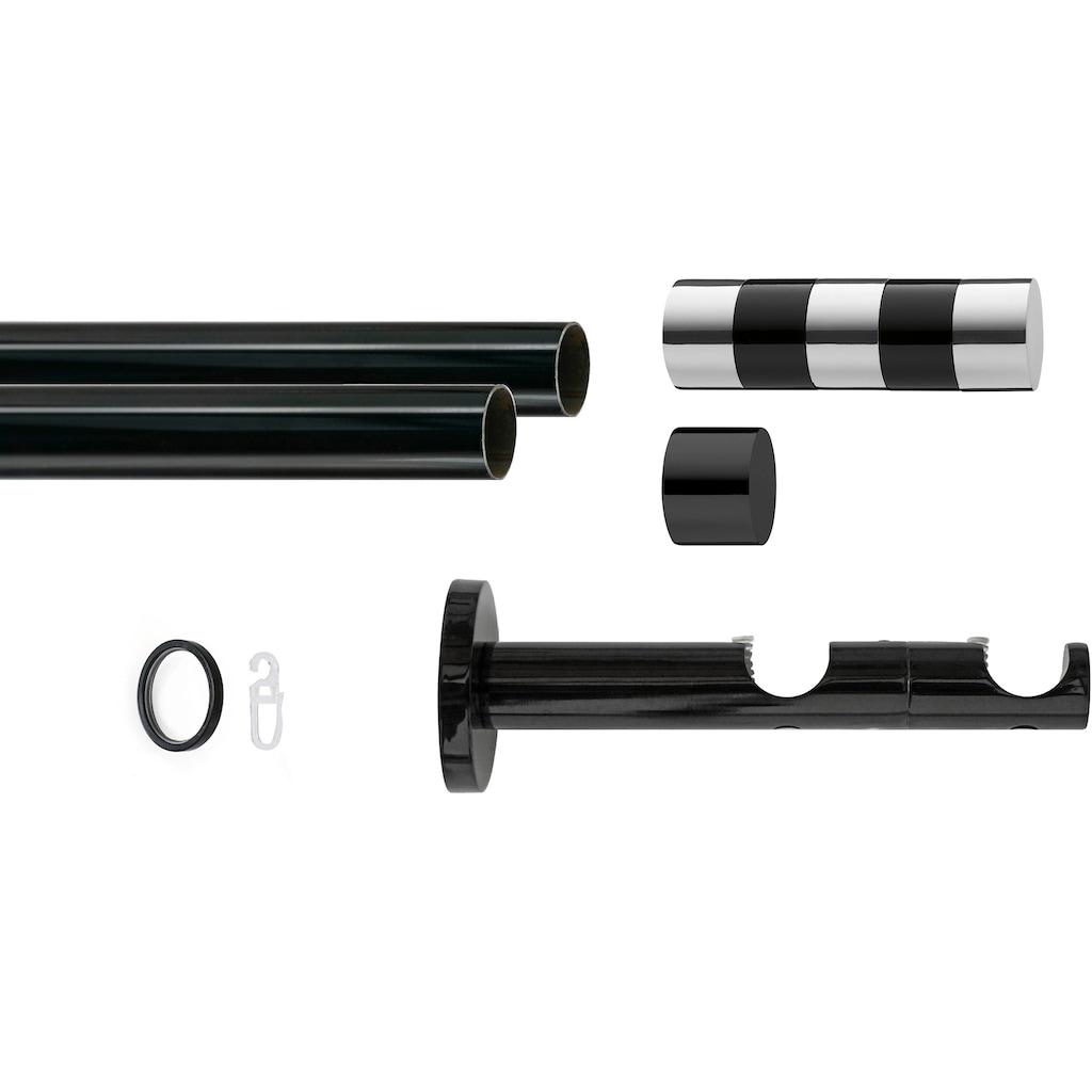 GARESA Gardinenstange »Black Murcia«, 2 läufig-läufig, Wunschmaßlänge, inkl. je10 cm einen Ring + FH, Träger, Endknöpfe