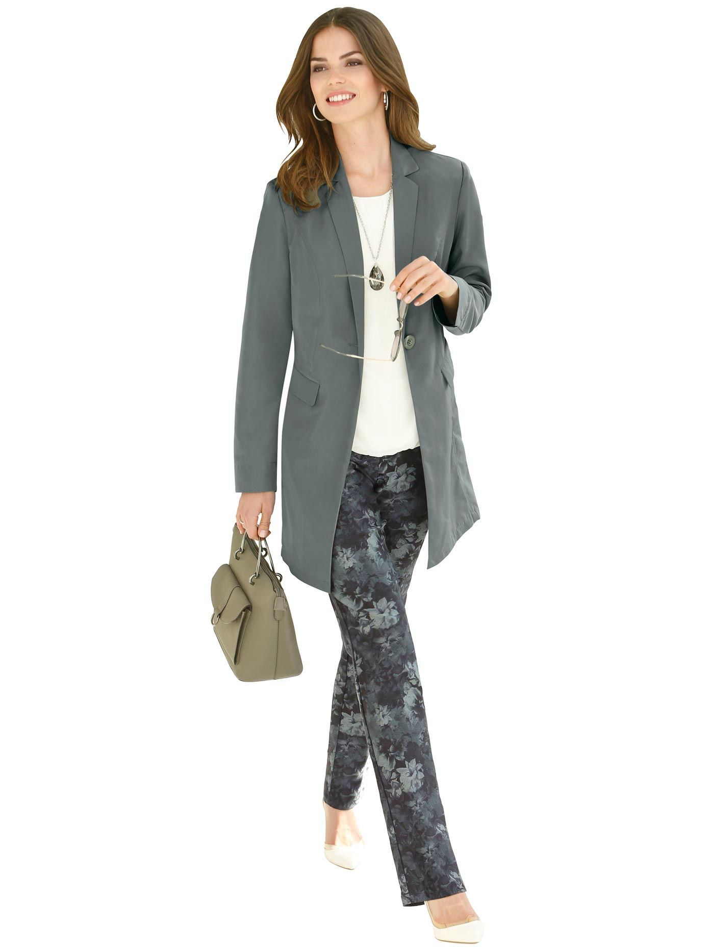 Lady Blusenblazer in modisch langer Form | Bekleidung > Blazer > Blusenblazer | Grün | Lady