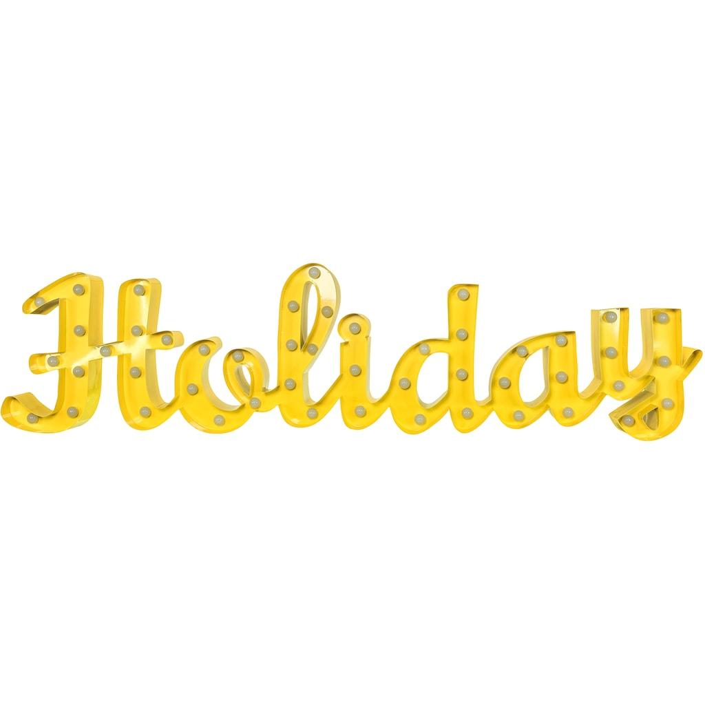MARQUEE LIGHTS LED Dekolicht »Holiday Schriftzug«, 1 St., Warmweiß, Wandlampe, Tischlampe Holiday mit 48 festverbauten LEDs - 149cm Breit und 38cm hoch