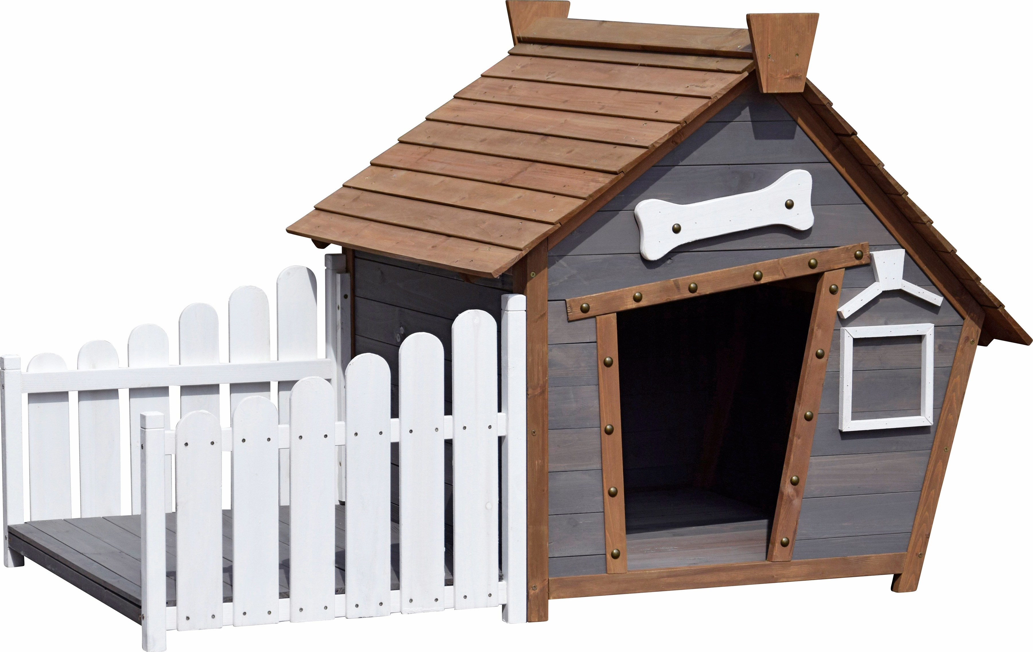 dobar Hundehütte, BxTxH: 146,3x90x96 cm grau Hundehütten Zwinger Hund Tierbedarf Hundehütte