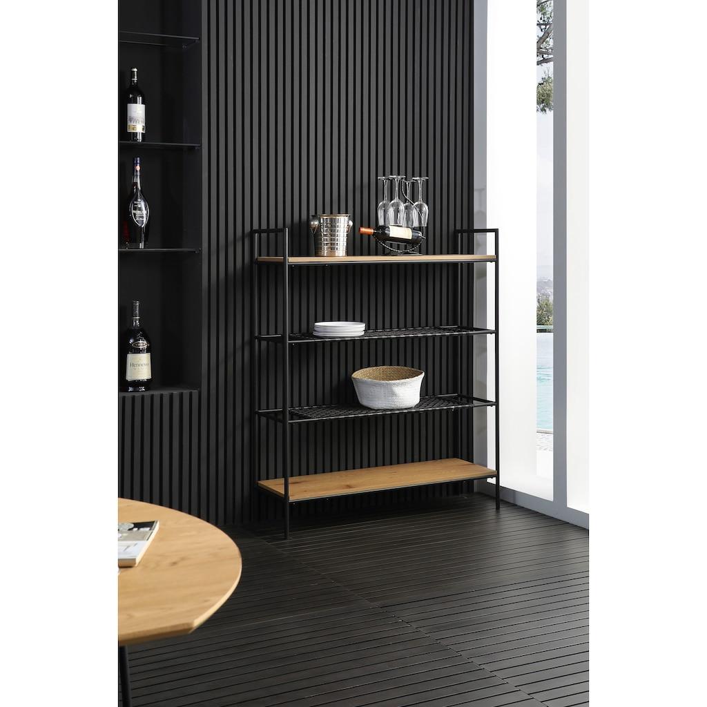 SalesFever Bücherregal, 2 Ablageböden aus mattschwarzem Polyrattan