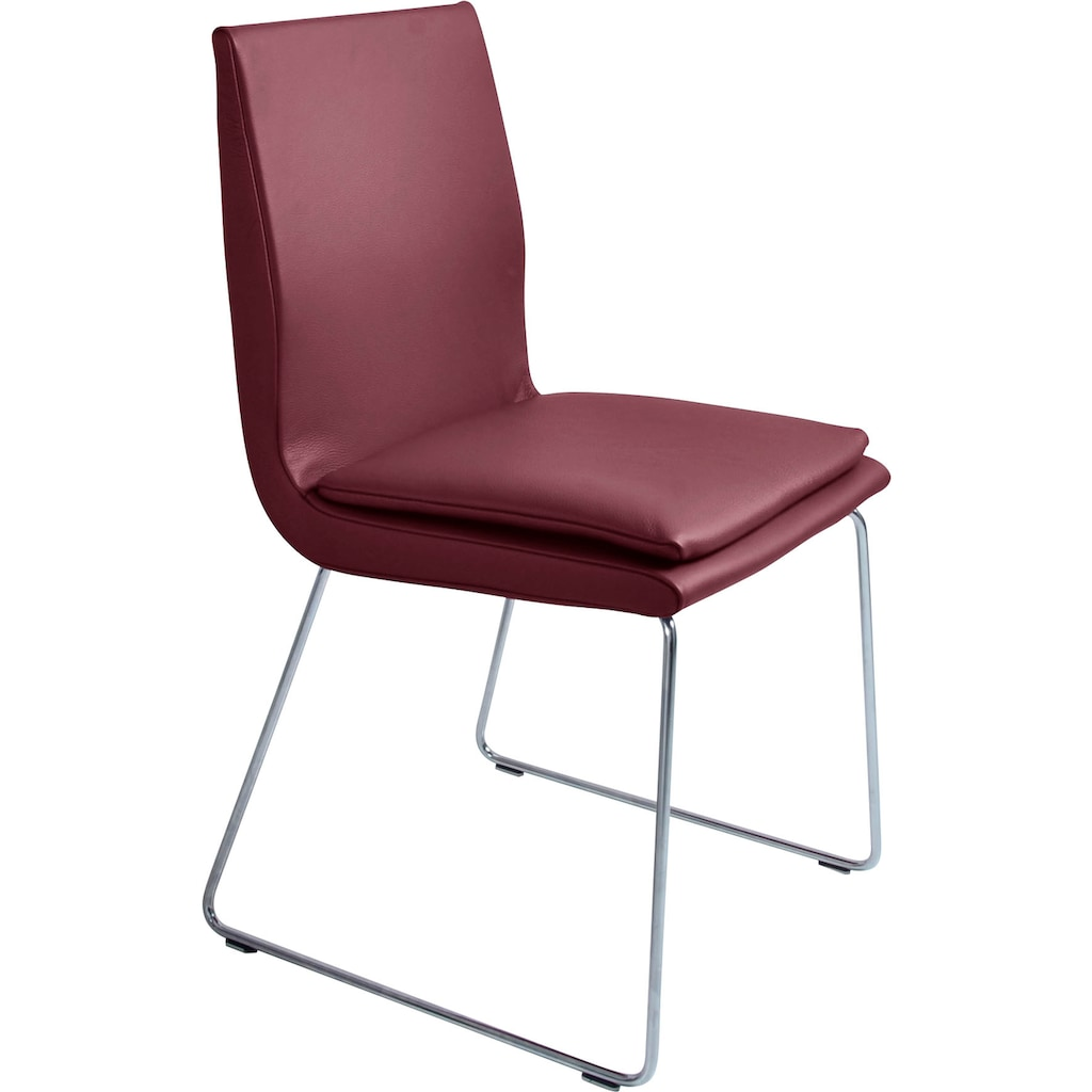K+W Komfort & Wohnen Esszimmerstuhl »Creso«, mit Sitzkissen und Rundrohrkufe in Edelstahloptik gebürstet