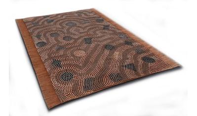DIE HAUSKUNST Teppich »Dakan«, rechteckig, 4 mm Höhe, Flachgewebe, handgewebt, mit Fransen, Wohnzimmer kaufen