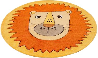 SMART KIDS Kinderteppich »Linus«, rund, 9 mm Höhe, Löwe Tiermotiv, Konturenschnitt kaufen