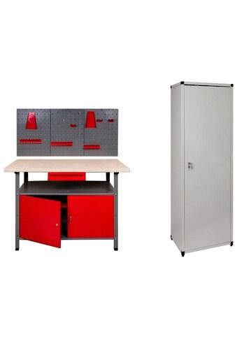 Kreher Werkstatt-Set, B/T/H: 120x60x85 cm, 2x Tür, 1x Werkstattschrank, 1x Werkzeugwand kaufen