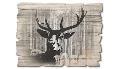 Artland Holzbild »Hirsch Collage«, Wildtiere, (1 St.) kaufen