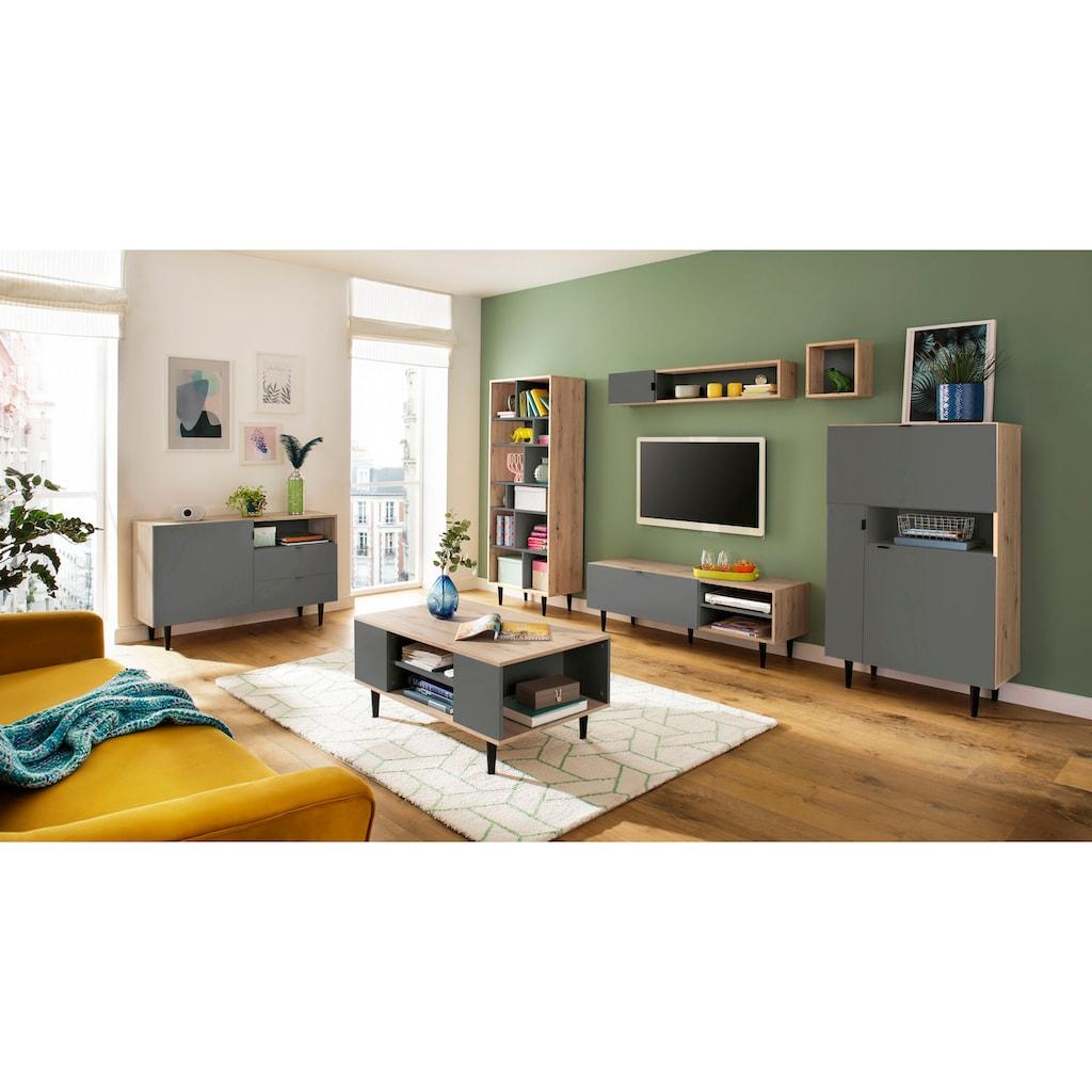 my home Wandregal »Legro«, mit edlen Kantengriffen aus Metall, Zweifarbigkeit, diversen Stauraummöglichkeiten, Breite 130 cm