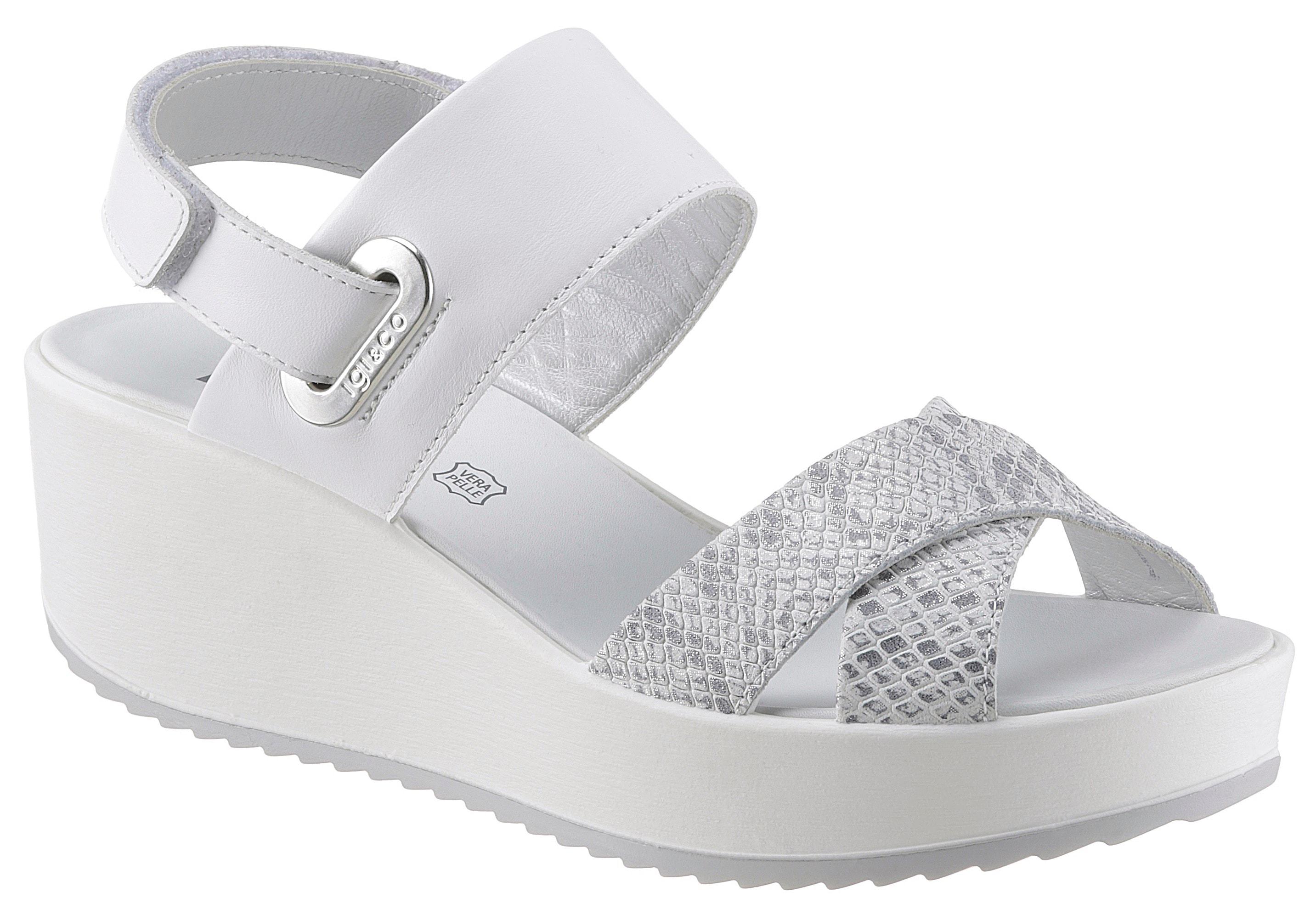 IGI & CO Sandalette, mit Reptil-Bandage weiß Damen Sandaletten Sandalen Sandalette