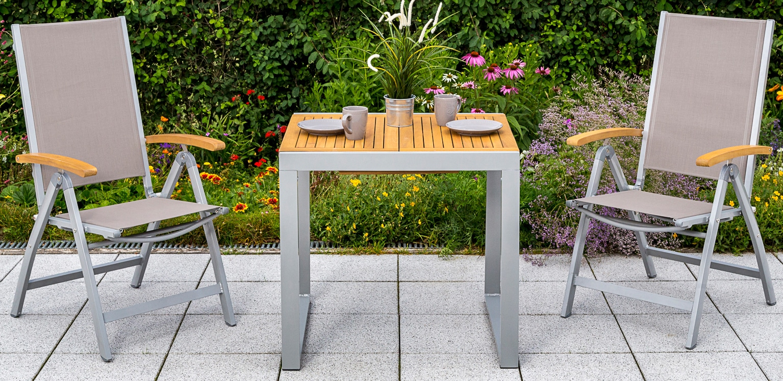 MERXX Gartentisch Naxos Eukalyptus/Alu ausziehbar 120x70 cm natur